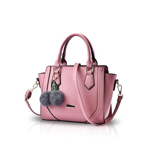 NICOLE&DORIS Donne / signore casuali adattano la borsa di Crossbody spalla del messaggero della borsa della cartella del Tote della Borsa della spesa Faux Leather PU Nero Rosa