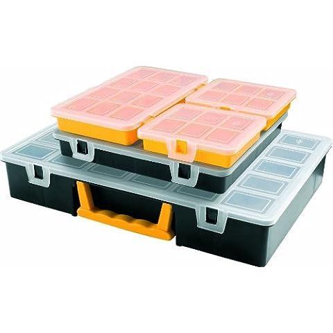 Art Plast 3060 Kit porta minuteria in plastica, Nero/Giallo/Trasparente