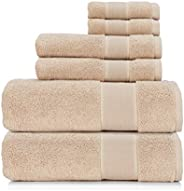 Ralph Lauren Sanders Towel 6 Piece Set - Solid Tan/Light Brown - 2 Bath Towels, 2 Hand Towels, 2 Washcloths