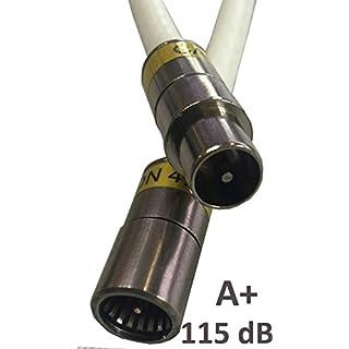 Kab24® HQ Antennenkabel Schirmung > 115 dB EN 60966-2-6 Klasse A+ mit beidseitigen Kompressionssteckern (10m, F-Stecker Quick <> Koax-Stecker)