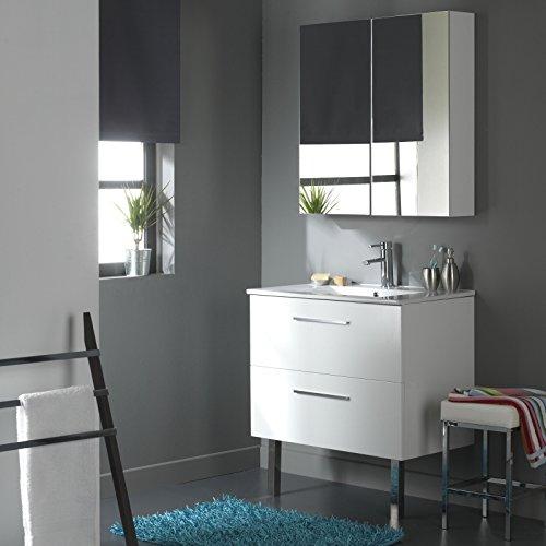 Meuble de salle de bain 80 cm 2 tiroirs Blanc Laqué