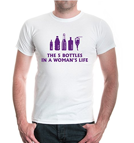 buXsbaum® T-Shirt The 5 Bottles in a womans life White-Purple
