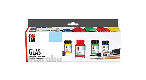 Marabu 1306000000087 - Glas Starter Set, leuchtende, transparente Farbe auf Wasserbasis, spühlmaschinenfest ohne Einbrennen, speichelecht, 4 x 15 ml Farbe, 20 ml Reliefpaste und Pinsel