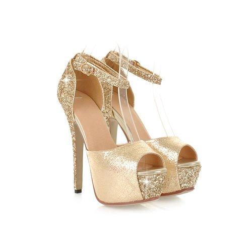 Toe Sandálias Saltos Altos De Xinjing Sequin Dos s Casamento Fivela Bloco Do Peep Plataforma Sapatos Ouro Mulheres vzqIwfzxP