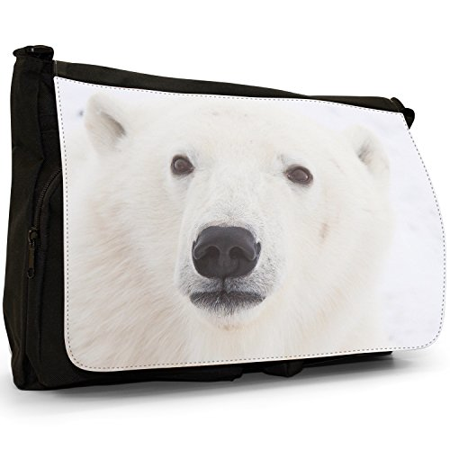 Orsi polari–Borsa Tracolla Tela Nera Grande Scuola/Borsa Per Laptop Polar Bear Face Close Up