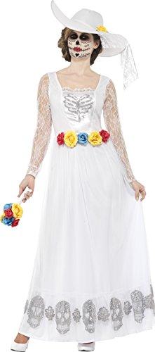 Smiffys 44657M - Damen Tag der Toten Skelett Braut Kostüm, Größe: 40-42, weiß