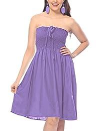 f04379a45a6 LA LEELA Women Short Tube Dress Rayon Solid Pool Party Plain