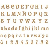 Stencil Deco Abecedario 008. Medidas aproximadas: Medida exterior del stencil: 20 x 30 cm Medida del diseño:2 x 1,8 cm Medida de la figura 1: 2 x 1,8 cm Medida de la figura 2: 1,7 x 1,2 cm