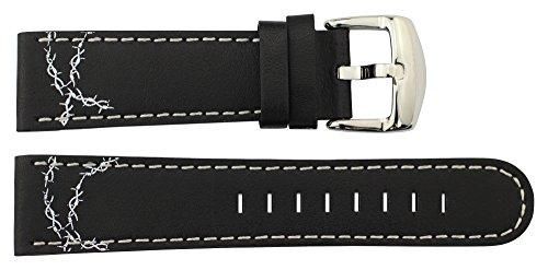 Moog Paris Schwarz Kalbsleder Uhrenarmband, Dornschließe, 22mm Ersatzband _ B22005