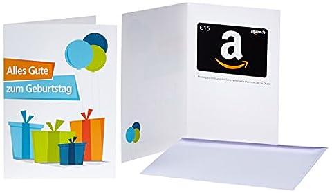 Amazon.de Grußkarte mit Geschenkgutschein - 15 EUR (Geburtstagsgeschenke)