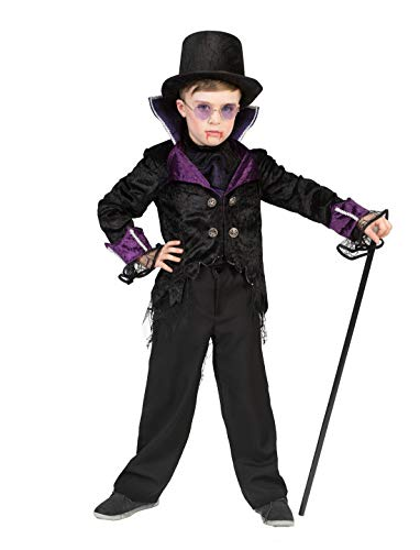 Luxuspiraten - Jungen Kinder Kostüm, Vampir Boy Fürst der Dunkelheit GRAF Dracula, perfekt für Halloween Karneval und Fasching, 140, Schwarz (Kostüme Boy Vampir)
