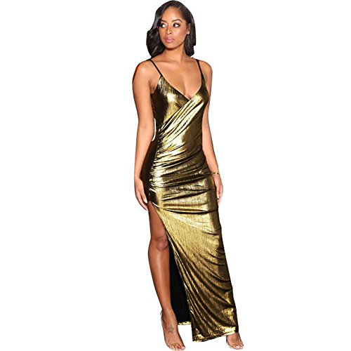 Romacci Sexy Women Bandage Maxi Dress V Neck Adjustable Strap Thigh High Split Clubwear Party Dress Silver/Gold