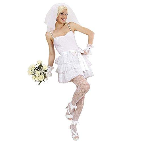 Widmann 89101 - Kostüm Braut mit Top, Rock, Gürtel, Armbänder und Kopfbedeckung mit Schleier, S
