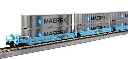 kato-usa-model-train-products-100010-n-gunderson-maxi-i-double-stack-5-unit-well-car-maersk-train-by