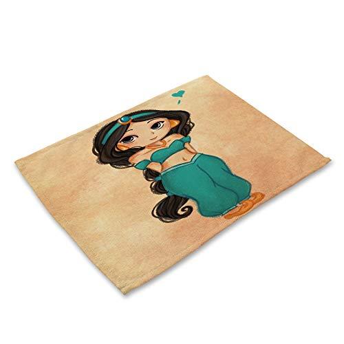 ZCHPDD Hauptbaumwollleinenkunst, Die Karikatur Anime-Mädchenserie Westnahrungsmittelauflage U 42 * 32Cm * 6Pcs Verkauft -