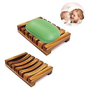 Jabonera de madera, caja de jabón de madera natural, plato de jabón hecho a mano, soporte de jabón para cubierta del…