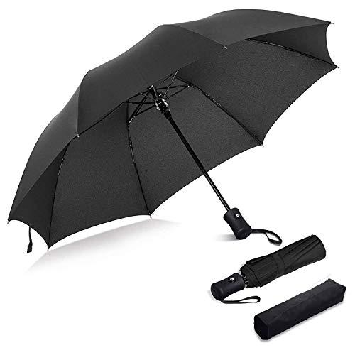 Ombrello pieghevole portatile automatico antivento, ventdest ombrello da viaggio compatto resistente leggero con custodia impermeabile, asciugatura veloce (nero)
