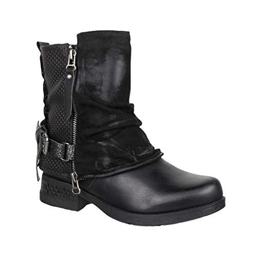 Elara Mujer Biker Boots | Metallic Prints Hebillas | Aspecto de Piel Remaches Botines | Forrado, Color Negro, Talla 36 EU