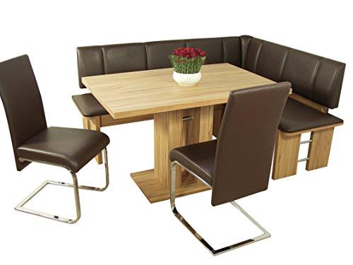 """moebel direkt online Dining-Gruppe \""""Kairo\"""" im modernen Design kernbuche / Bezug: Lederimitat moccafarben"""