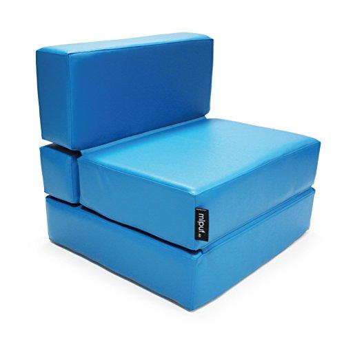 MiPuf - Sofá Puf Cama Plegable - 190x80x20 cm - Tejido Polipiel Alta Resistencia - Azul Turquesa