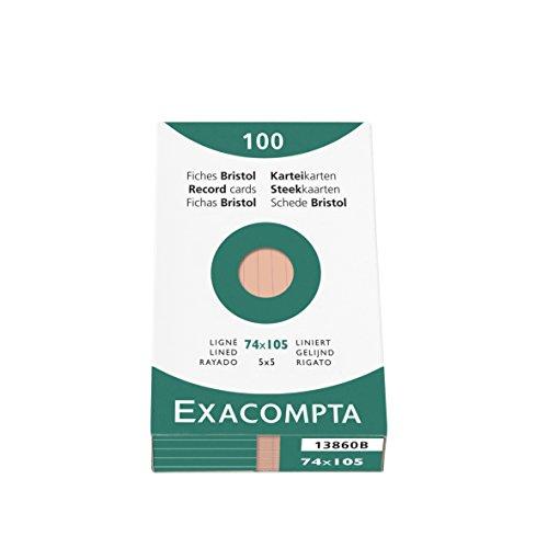 Exacompta 13860B Packung (mit 100 Karteikarten, DIN A7, 74 x 105 mm, liniert, ideal für die Schule) 1er Pack orange
