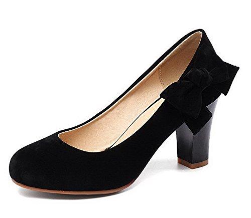 AllhqFashion Femme Dépolissement Tire à Talon Correct Couleur Unie Chaussures Légeres Noir