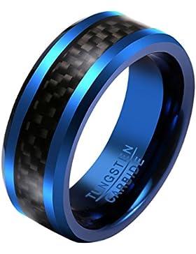JOVIVI Blau Herren Wolframcarbid Ringe mit Kohlefaser Tungsten Ring Verlobungsring Hochzeit Band Ring 8mm Gr.57-67
