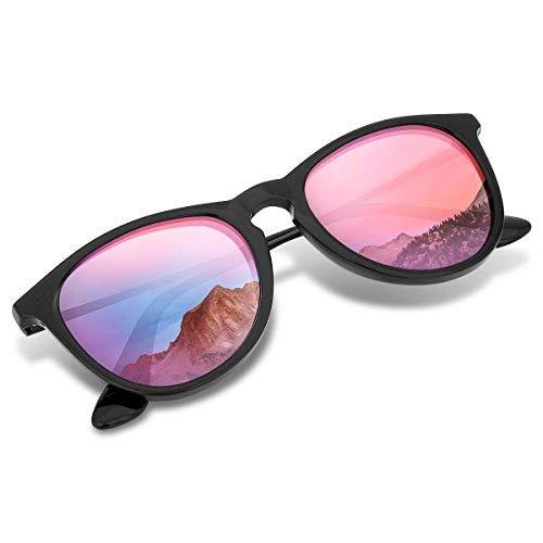 Wenlenie Polarisierte Runde Sonnenbrille Damen, Polaroid Verspiegelte Sonnenbrille Pink Damen/Herren (Runde, Rosa verspiegelt)