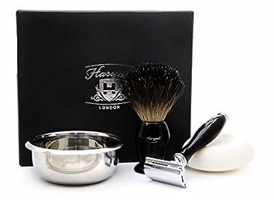 DE Safety Razor Gift Set with 4 Different Item In Black( Black Badger Hair Shaving Brush, DE Safety Razor (No Blades Included),