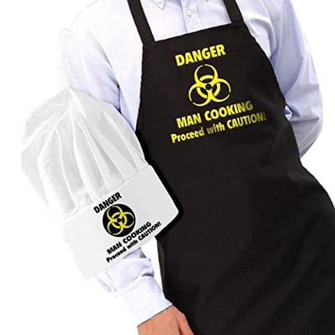 Gift House International Danger Man Cooking Apron and Chef's Hat
