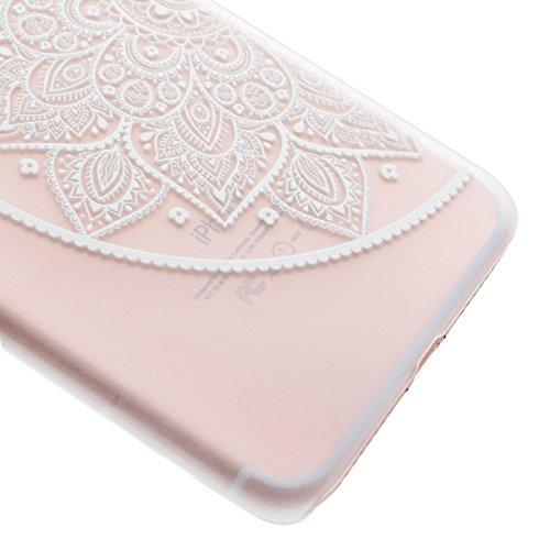 iphone 7 Plus 4.7 Zoll Hülle,iphone 7 Plus Transparent Crystal Case,Ekakashop Ultra dünn Slim Modisch Durchsichtig Weiß Traumfänger Muster Weiche Silikon TPU Flexible Gel Case Bumper Defender Protecti Blumen Links Halbkreis