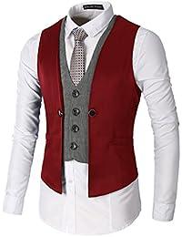 LIANIHK Moda Clásico Slim fit Waistcoat Chaleco Hombre Blazers Sin Mangas 5 colores