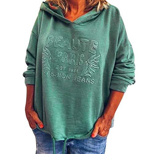 XINAINI Damen Pullover Weihnachten - Oversize Oberteile T-Shirt Sweatjacke Hoodie Kapuzenjacke Langarmshirt - Mode Einfarbig Druck Sweatshirt Kapuzenpullover Sweatshirt Tops(XXL,Grün)