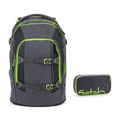 Satch by Ergobag - Set di 2 pezzi per la scuola, con zaino, motivo Tweaker 802, motivo:a quadri, colore: verde/grigio