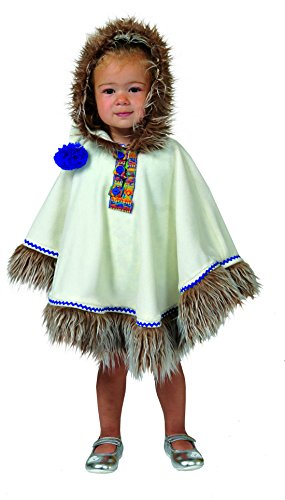 Halloweenia - Eskimo Indianer Kostüm mit Kapuze für Kinder, Weiß (Niedliche 70er Jahre Halloween Kostüme)