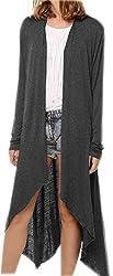 Fuxiang Long Cardigan Women 2017 Long Sleeve Cardigans Ladies Knit Knitted Womens Loose Irregular Hem Open Front Cardigan Womens Waterfall Casual Sweater Draped Jumper Outwear