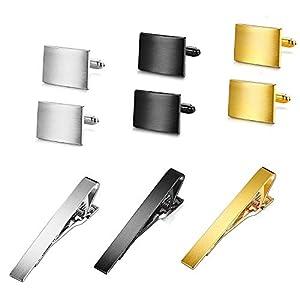 Finrezio Herren Manschettenknopf und Krawattenklammer Set Krawattennadel für Normale Krawatte Tie Clip Business-Hochzeit mit Geschenkbox Silber Gold Schwarz