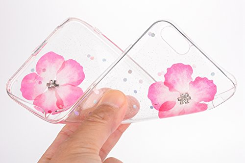 Custodia Cover iPhone 6/6S plus Silicone Morbida,Ukayfe Trasparente Cristallo di Lusso di Bling Glitter Paillettes Strass e Fiore Colorato Disegno Diamante per iPhone 6/6S plus Clear Flexible TPU Gel  Rosa 2#