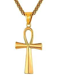 0ab13eec1002f U7 Collier Ânkh pour Homme Chaîne et Pendentif Croix Ansée Femme Bijoux  Unisexe Religieux en Acier