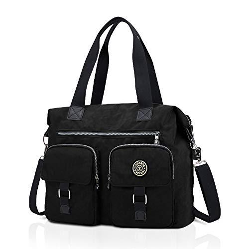 Nlyefa Damen Handtasche Nylon Schultertasche Henkeltasche Große Umhägetasche Wasserdicht für Büro Alltag Schule, EINWEG -