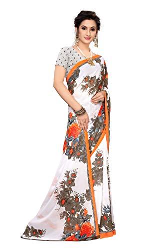 Anni Designer Women's Georgette Flower Printed Saree with Blouse Piece (Vivera Print Orange_Free Size)