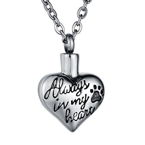 Huellas de mascota Perro Gato Corazón Urna Colgante Collar, zcbrisk recuerdo conmemorativo para cenizas cremación joyas