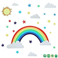 Rainbow Wall Sticker with Stars and Sun Clouds Rainbow Peel Colorful Rainbow Wall Decal for Bedroom Classroom Nursery Home Decoration