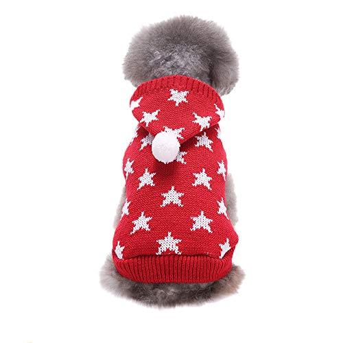 Amphia - Haustier Hund mit Kapuze Stern Pullover,Haustier-Hundekatze-Winter-Warmer Pentagram-mit Kapuze Strickjacke-Mantel-Kostüm-Kleid