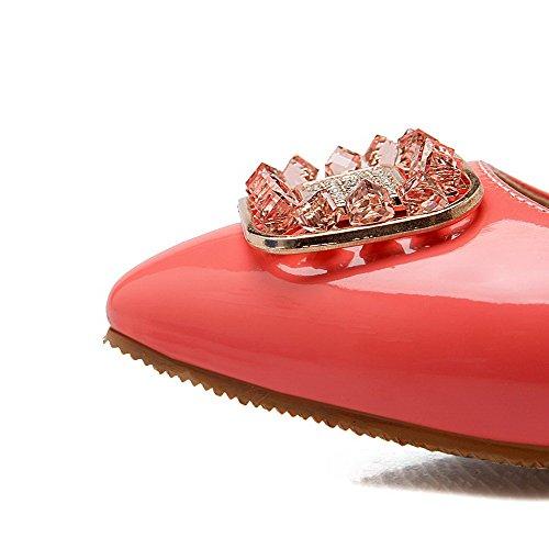 AllhqFashion Femme Non Talon Verni Couleur Unie Tire Pointu Chaussures à Plat Rose