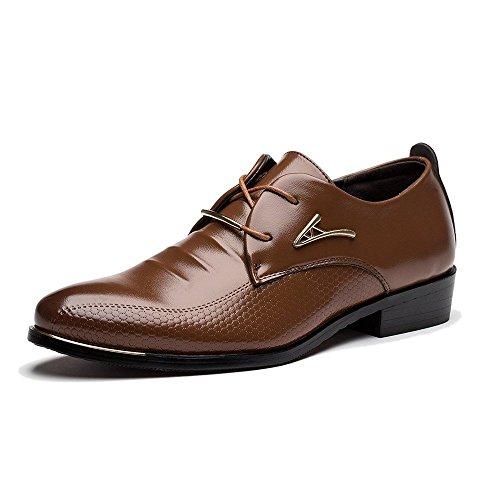 Minetom Herren Britisch Stil Gummisohle Stiefel Business Schuhe Leder Lace-up Spitzschuh Hochzeit Geschäfts Kleid Oxfords Schnürhalbschuhe Braun EU 43 (Kleid Braun Stiefel Leder)