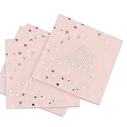 JOJOR Servietten Geburtstag Rosegold,Happy Birthday Servietten Rosa Pinke,Hochwertige Papierservietten Rosa Gold 33x33cm für Mädchen Geburtstag Party Deko ,32 Stück