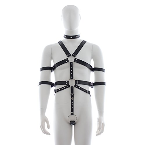 Bondage Kleidung, Herren Schwarz Leder Bondage Gürtel, Paar BDSM Bondage Spielzeug
