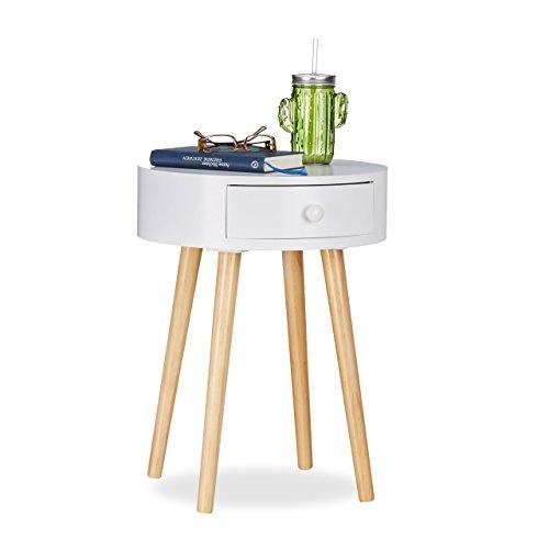 Relaxdays Beistelltisch rund, Schublade, skandinavisches Design, Couchtisch oder Nachttisch, HxØ: 52 x 40 cm, Holz, weiß
