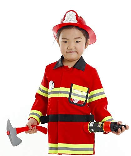 Pretty Princess Kinder kostüm Junge Feuerwehrmann Rot Einsatzjacke Zubehör Feuerwehr cosplay Spielzeug Karneval Kleidung 9-10 ()